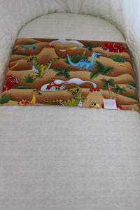STONEAGE BASSINET SPILL PILLOWS AND TAN FITTED SHEET / COTTON