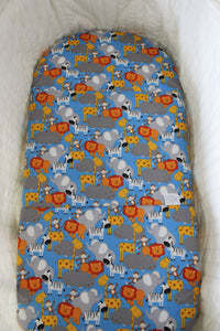SAFARI BASSINET SPILL PILLOW & FITTED SHEET / COTTON