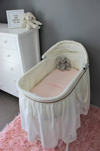 Load image into Gallery viewer, PINK BASSINET SPILL PILLOW AND FITTED SHEET / FLANNELETTE