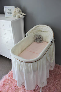 PINK BASSINET SPILL PILLOW AND FITTED SHEET / FLANNELETTE