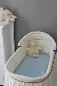 BLUE BASSINET SPILL PILLOW AND FITTED SHEET / FLANNELETTE