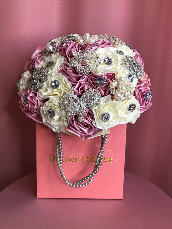 Pink and Ivory Flowers w/ Pearls Bouquet