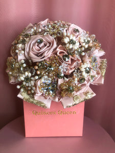 Soft Pink Silk Flowers w/ Pearls and Gold Pendants Bouquet