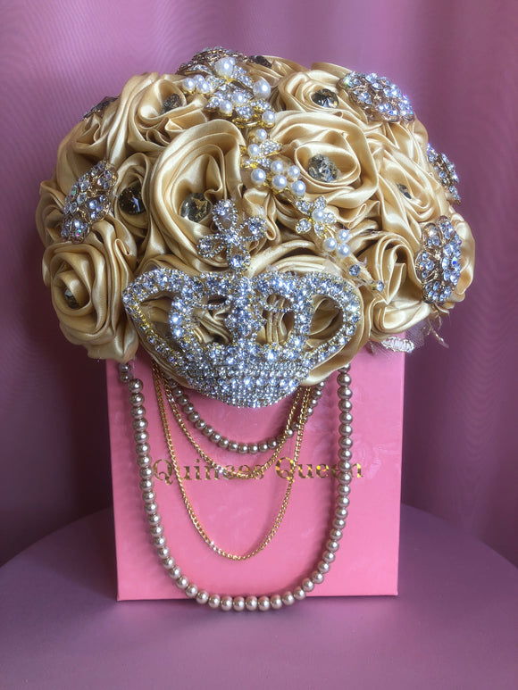 Gold Silk Flowers w/ Crown Pendant and Pearls Bouquet