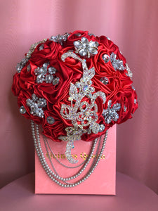 Red Bouquet w/ Crystals and Pearls Bouquet