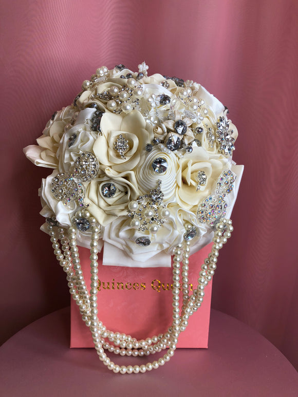 All White Flowers w/ Pendants and Pearls Bouquet