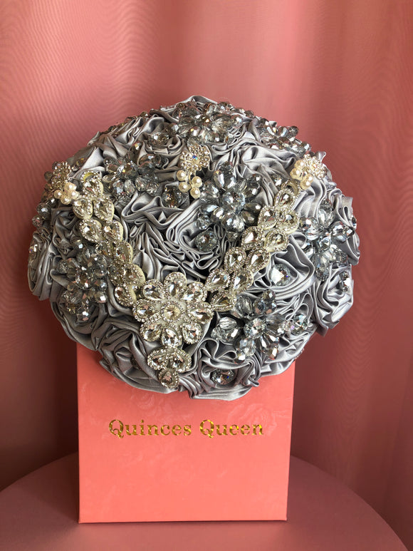 Silver Silk Flowers w/ Pendant Bouquet