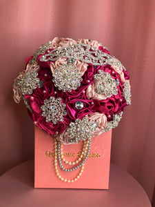 Fuchsia Flowers w/ Pendants and Pearls Bouquet