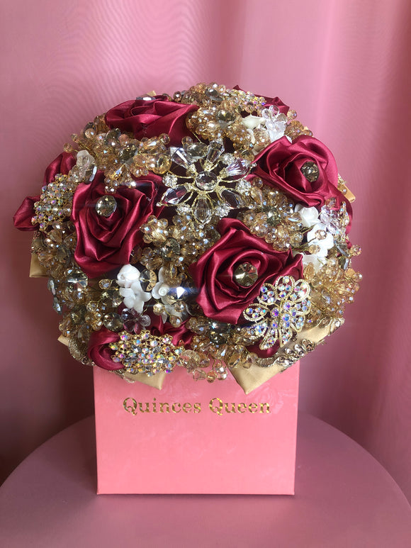 Red Silk Flowers w/ Full Gold Pendants and Crystals Bouquet