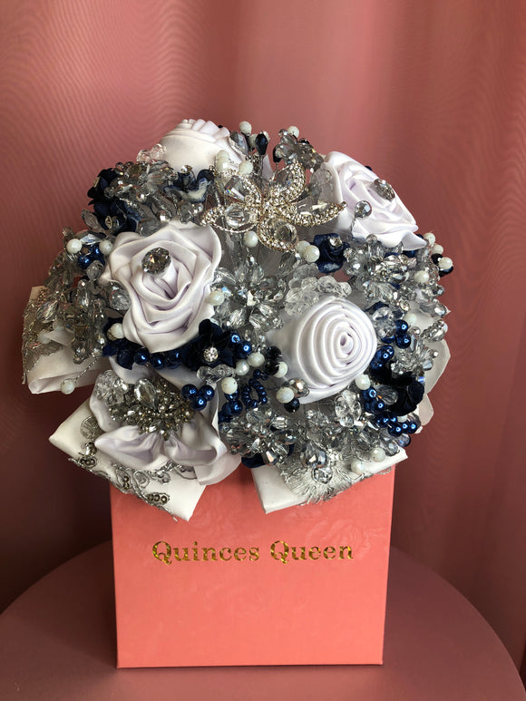 Navy Blue and White Silk Flowers w/ Crystals Bouquet