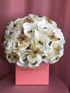 Ivory Flowers w/ Gold Crystals Bouquet