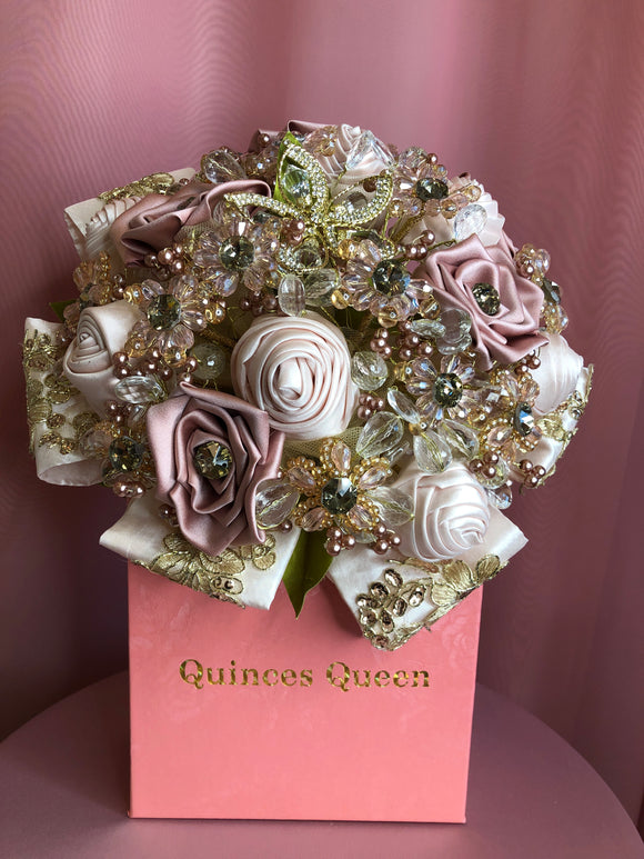 Pastel Pink and Ivory Flowers w/ Gold Embroidery Bouquet