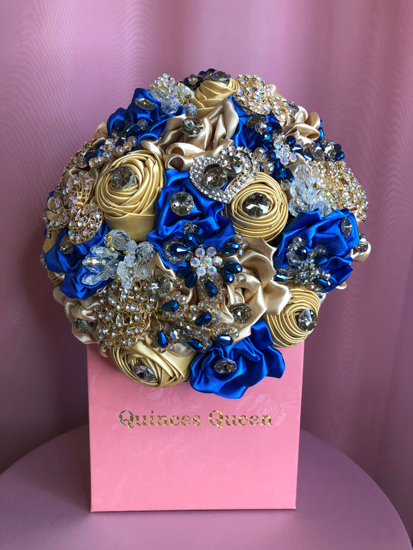 Majestic Blue and Gold Silk Flowers w/ Crystals Bouquet