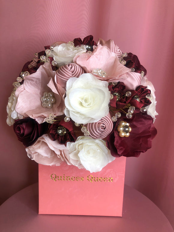 Soft Pink, Burgundy and White Flowers w/ Pendants Bouquet