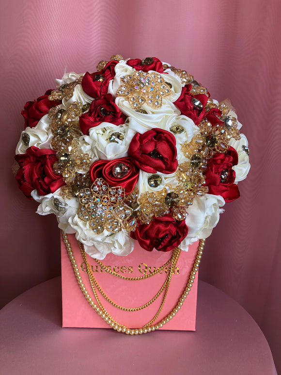 Red and White Flowers w/ Pendants and Pearls Bouquet