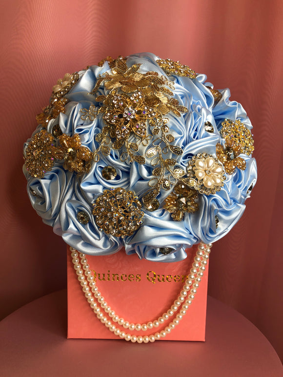Sky Blue Silk Flowers w/ Pearls Bouquet