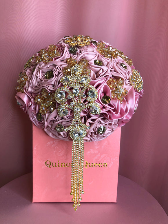 Pink Silk Flowers w/ Gold Pendants Bouquet