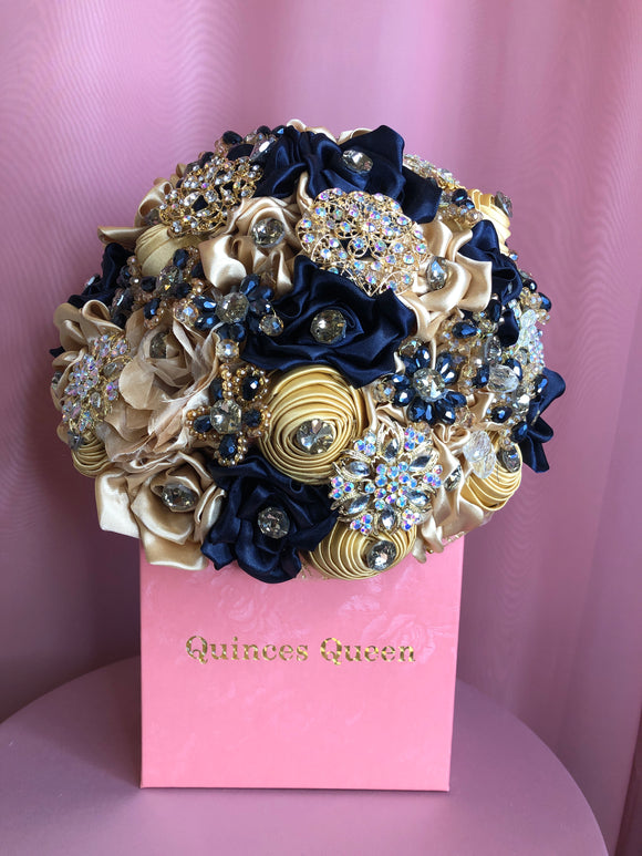 Navy Blue and Gold Flowers w/ Gold Pendants Bouquet