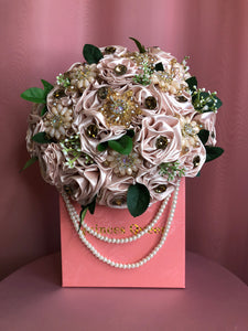 Soft Pink Flowers and Green Leaves w/ Pearls Bouquet