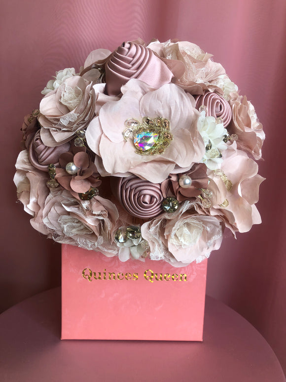 Mauve and Soft Pink Flowers w/ Gold Pendants Bouquet
