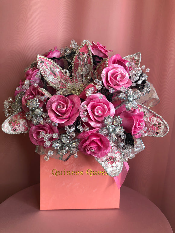 Fuchsia Pink Porcelain Flowers with Crystals Bouquet