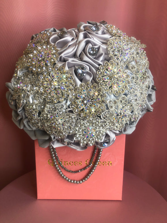 Silver Silk Flowers w/ Full Pendants and Pearls Bouquet