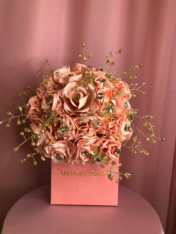 Coral Flowers w/ Gold Crystals Bouquet