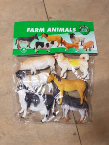 6pc farm animals in large bag