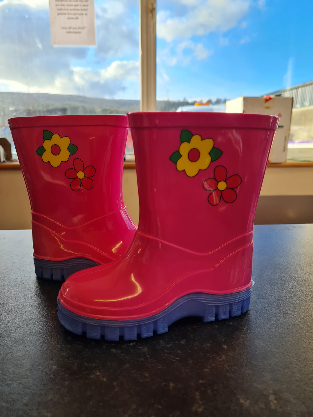 Pink/Lilac Flower Wellingtons