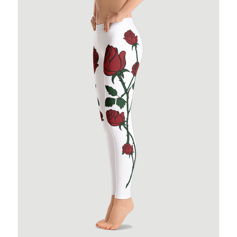 Uniquely Red Roses Prestige Leggings-Yoga Pants