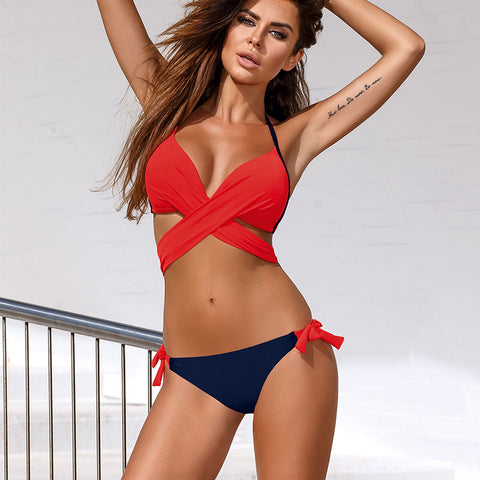 Bandage Bikini Push Up Bra Bikini Sets - Bak 2 Bay 6
