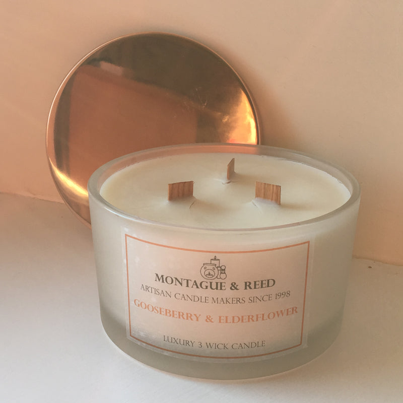 Luxury 3 Wick Soy Candle 50cl with copper snuff lid