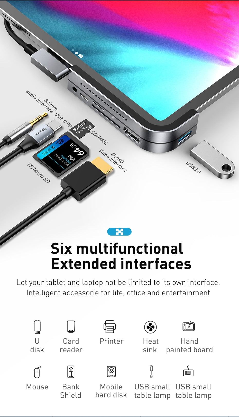 6 in 1 USB C HUB for Type C Devices