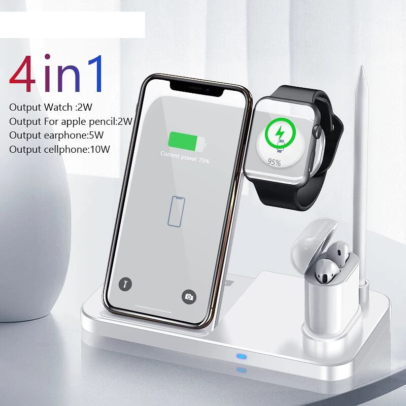 4 in 1 Wireless Charger for iPhone, Apple Watch, Airpods, Pencil Pad