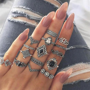 15 Pcs/set Bohemian Retro Crystal Flower Leaves Hollow Lotus Gem Silver Ring Set Women Wedding Anniversary Gift