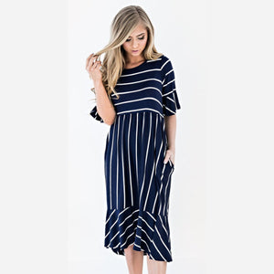 377207ef8e82 Striped Maternity Dresses For Pregnant Women Vestidos High Waist Pregnancy  Dresses Short Sleeve Summer Dress Maternity