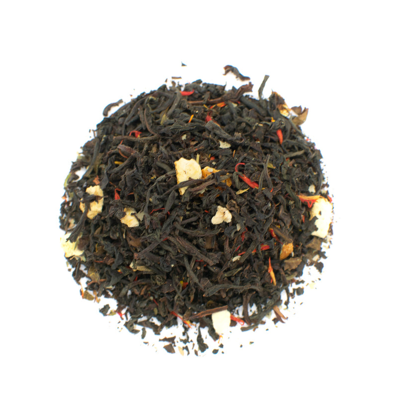 blood orange flavored black tea cup and leaf