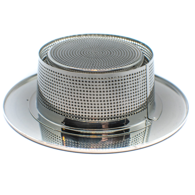 collapsable tea strainer right side up cup and leaf