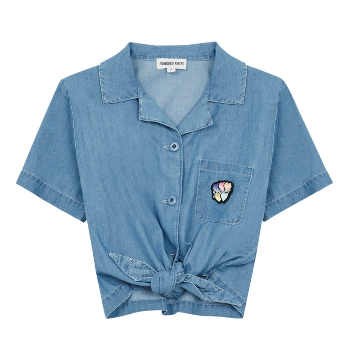 TIE-FRONT CHAMBRAY SHIRT - Sayings Kids
