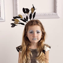 Load image into Gallery viewer, FLOATING FEATHERS HEADBAND BLACK/GOLD MIX