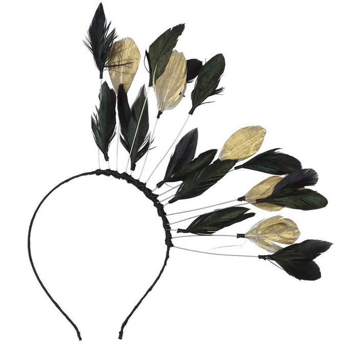 FLOATING FEATHERS HEADBAND BLACK/GOLD MIX