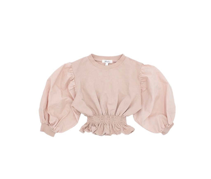 SMOCKED PUFF SWEATSHIRT