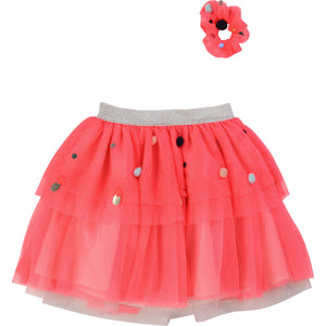 MESH TUTU WITH SEQUIN AND POMPOM DETAILS - Sayings Kids