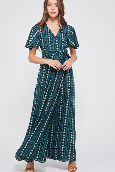 Low Cut V-Neck Wrap Maxi Dress