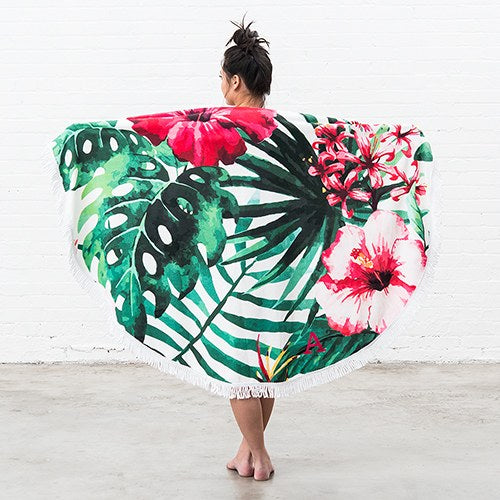 Tropical Hibiscus Circle Beach Towel
