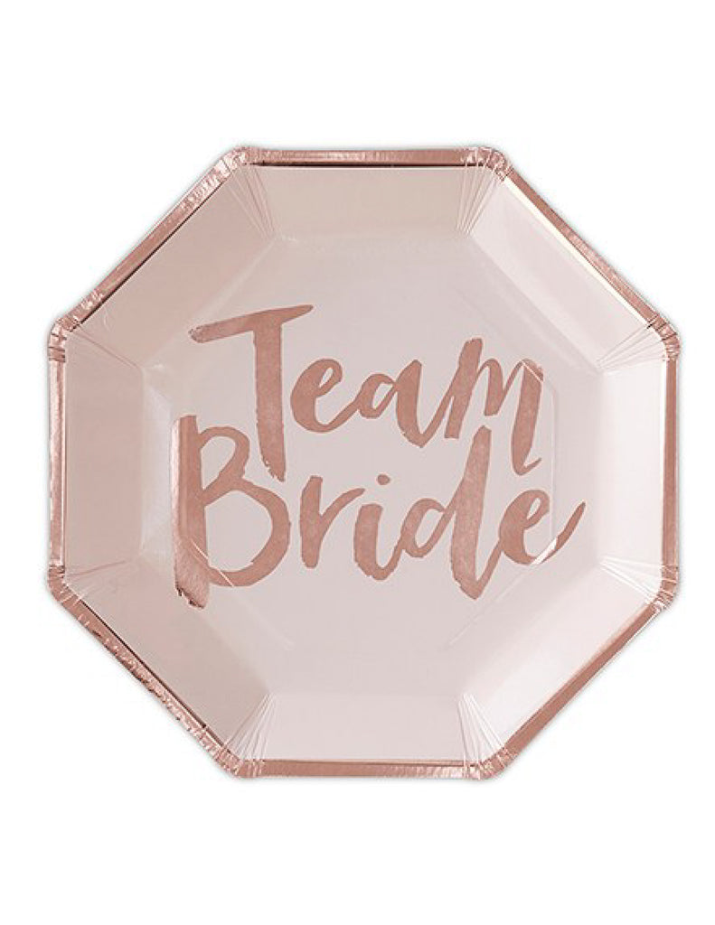 Team Bride Paper Disposable Dinner Plates