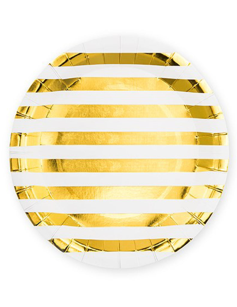 Large Gold Stripe Disposable Paper Plates