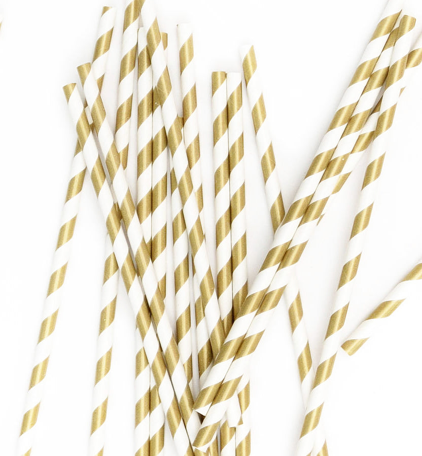 Foil Paper Gold Striped Straws