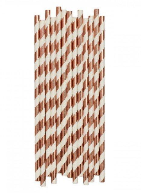 Rose Gold Striped Paper Drinking Straws
