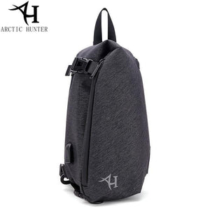 ARCTIC HUNTER new XB00045 men and women USB port waterproof printing crossbody chest bag Black / (30cm<Max Length<50cm) Shop&Smile PH - The Store for Happy Filipino Shoppers